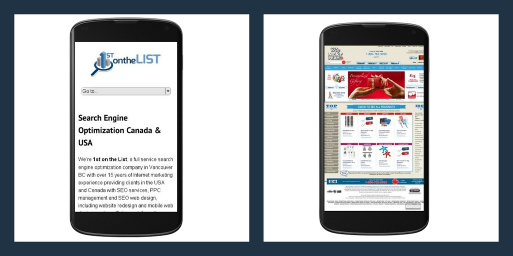 A mobile friendly website (left) resizes to fix the screen and a non-mobile friendly website on the right does not resize or reduce extra navigation menus.