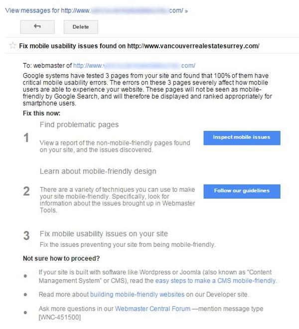 Google Notice Not Friendly Website