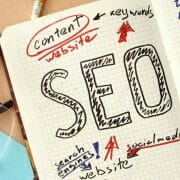 SEO content on a notebook