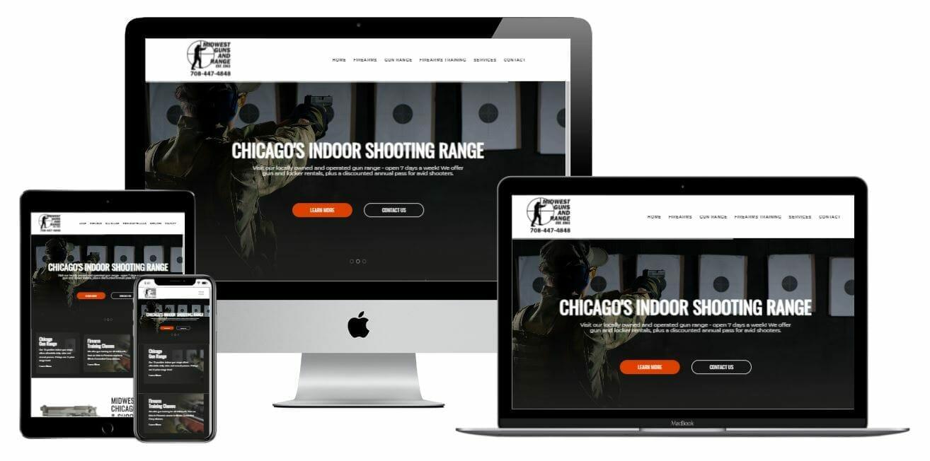 Midwest guns website displayed on desktop, laptop, tablet and smart phone