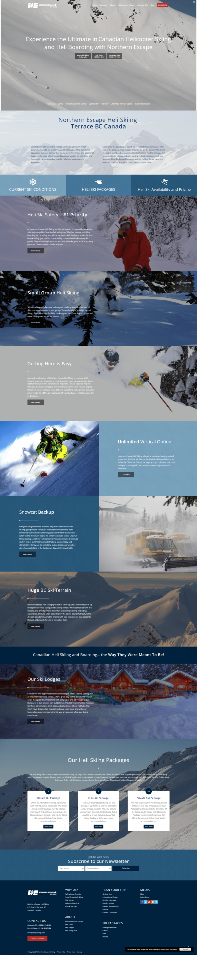 Northern Escape Heli Skiing Website Design