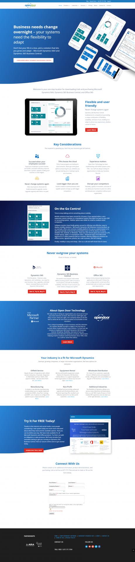 Open door website design layout