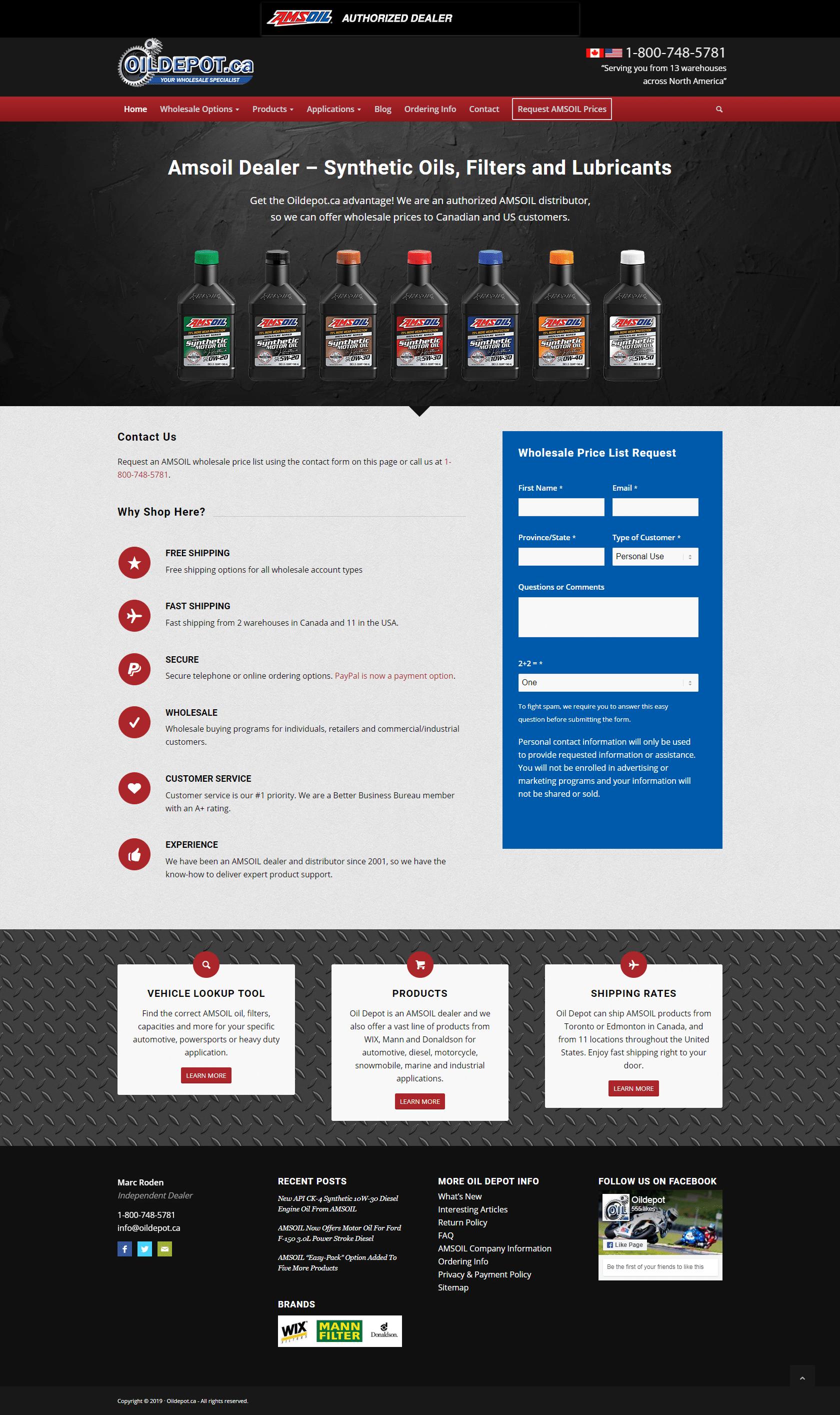 Oil Depot website design layout