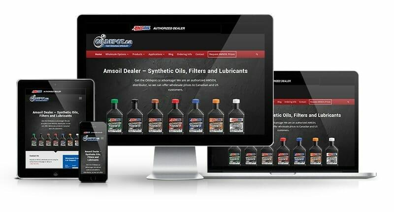 Oil Depot website displayed on cell phone, tablet, desktop and tablet
