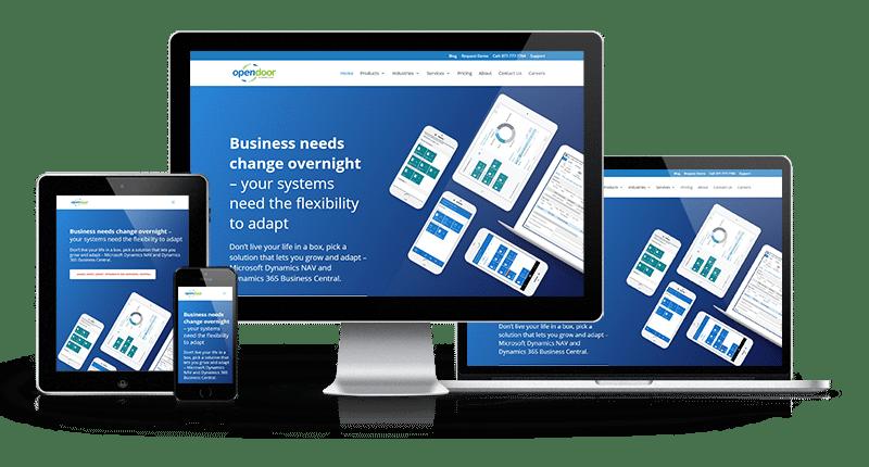 Open Door website displayed on cell phone, tablet, desktop and tablet