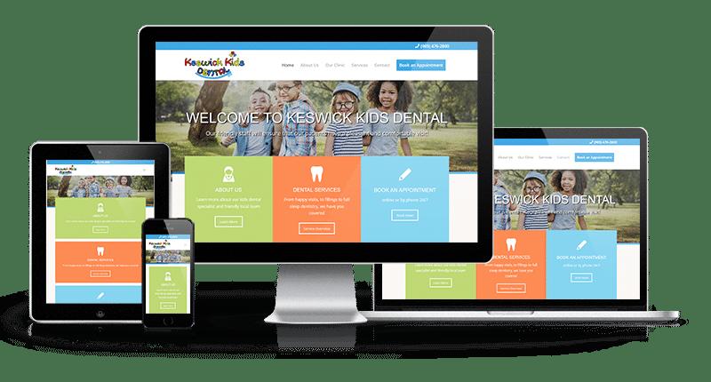 eswick Kids Dental website displayed on cell phone, tablet, desktop and tablet