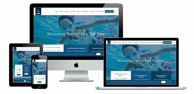 C-blu website displayed on cell phone, tablet, laptop and desktop computer