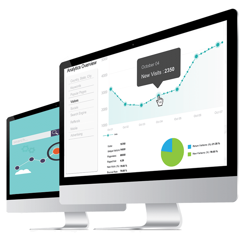 Screen Graphics showing Analytics overview