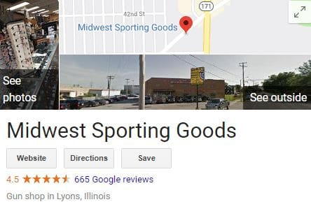 Midwest Sporting Goods Google Maps display
