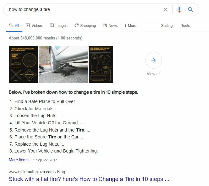 google serp featured snippet example