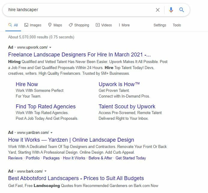 google ads example in search