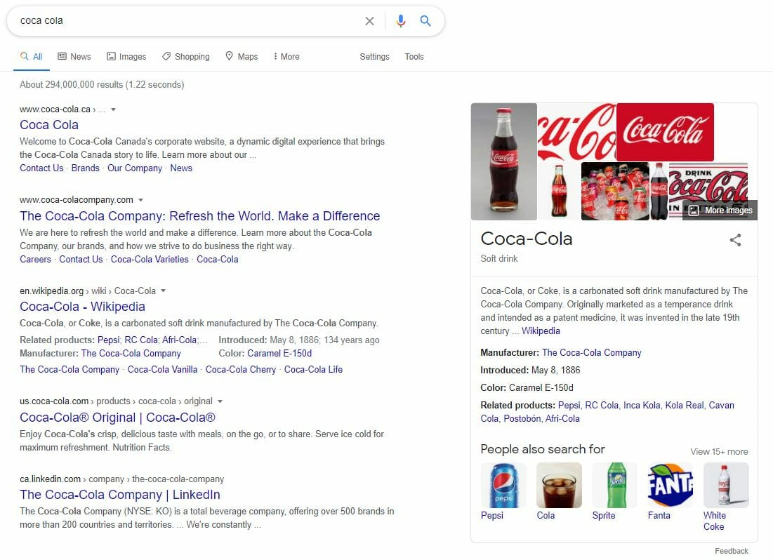 google serp knowledge panel example