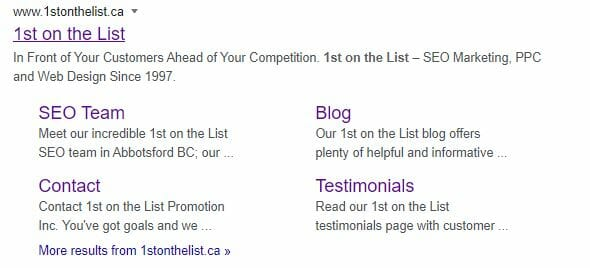google serp sitelinks example