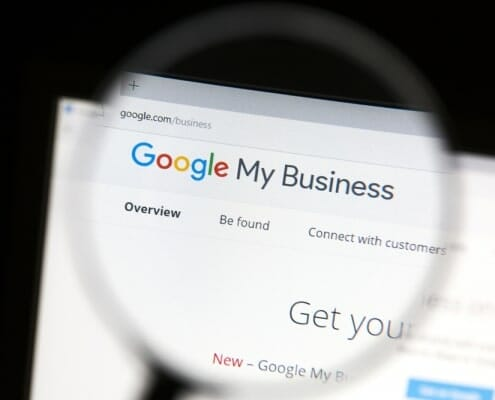 Google My Business seen through a magnifying glass
