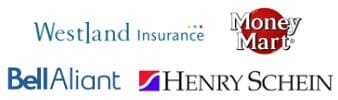 Logos for 1st on the List Clients - BellAliant, Westland Insurance, Money Mart, Henry Schein