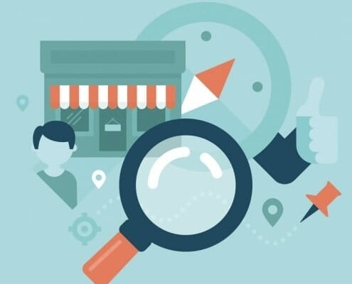 Cartoon drawing of Storefront, pin, person and magnifying glass to illustrate What is Local SEO