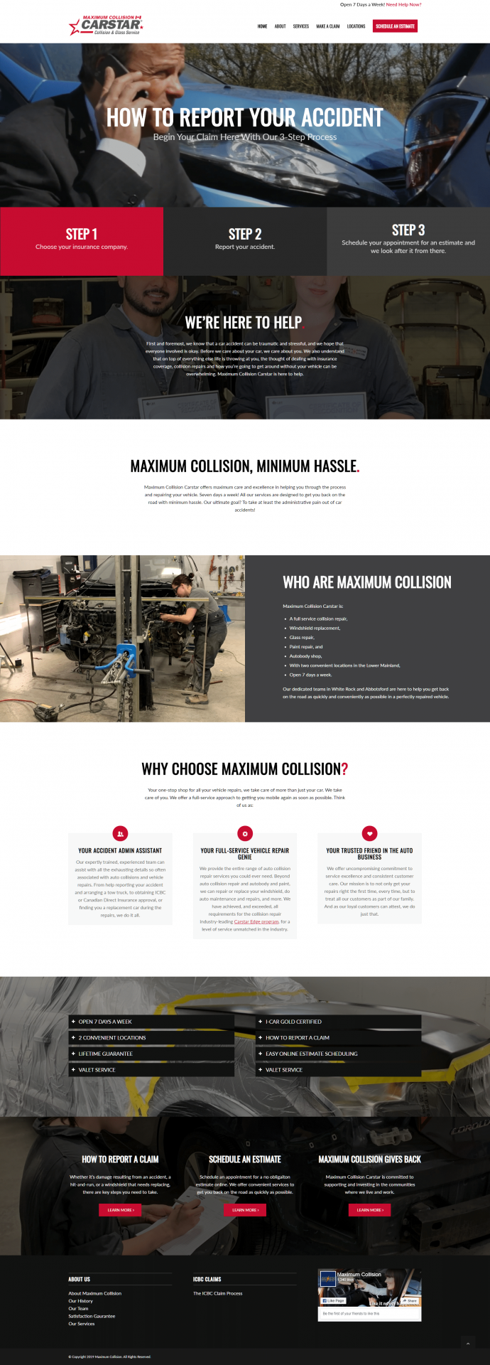 Maximum Collision website design homepage layout example