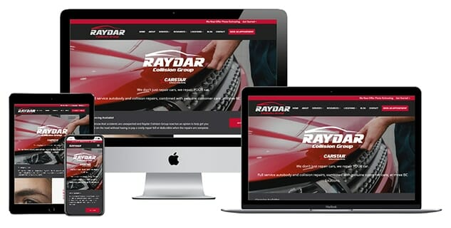 Raydar Collision Group website displayed on different electronic devices