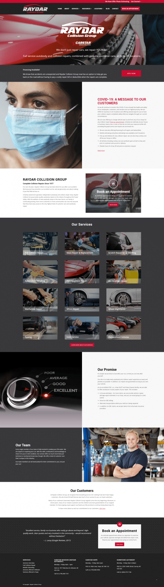 Raydar Collision website design homepage layout example