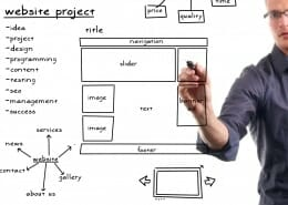 Man drawing on a whiteboard the strategy for Website development project