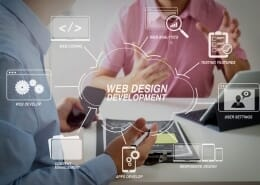 Graphics showing different elements connected to Web Design Development with photo of 2 men in the background in the planning stages