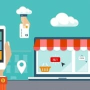 Animated drawing of cell phone, credit card, a store front (with the word Buy in the window) and methods of delivery
