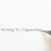 Person with a pencil writing content writing vs copywriting