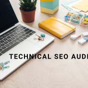 technical seo audit laptop and notepads