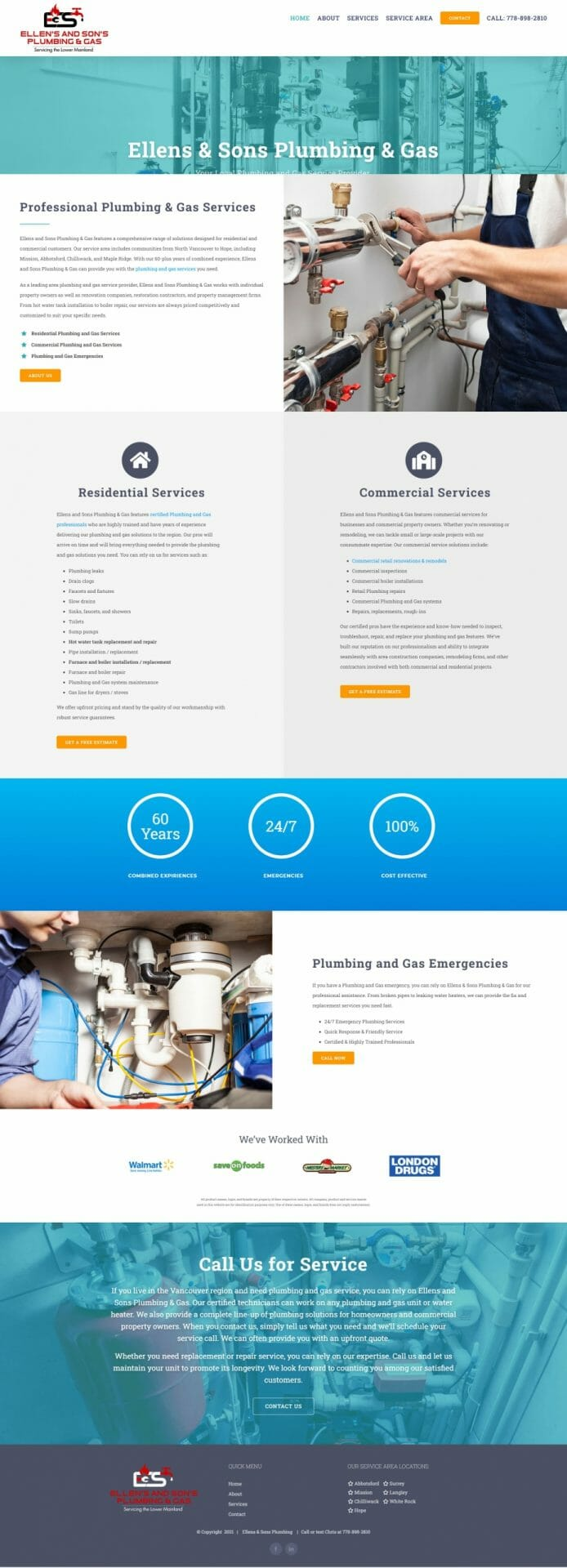 Home page layout for Ellens Sons Plumbing and Gas