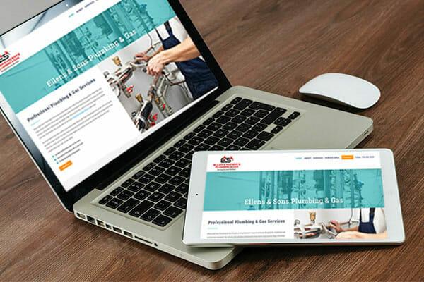 ellens sons website shown on desktop and tablet