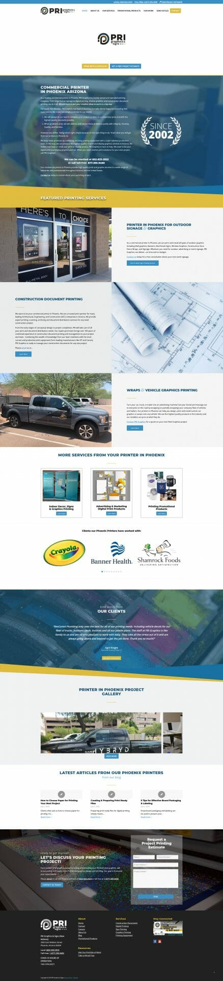 Screen Shot of HOME web page for PRI Graphics