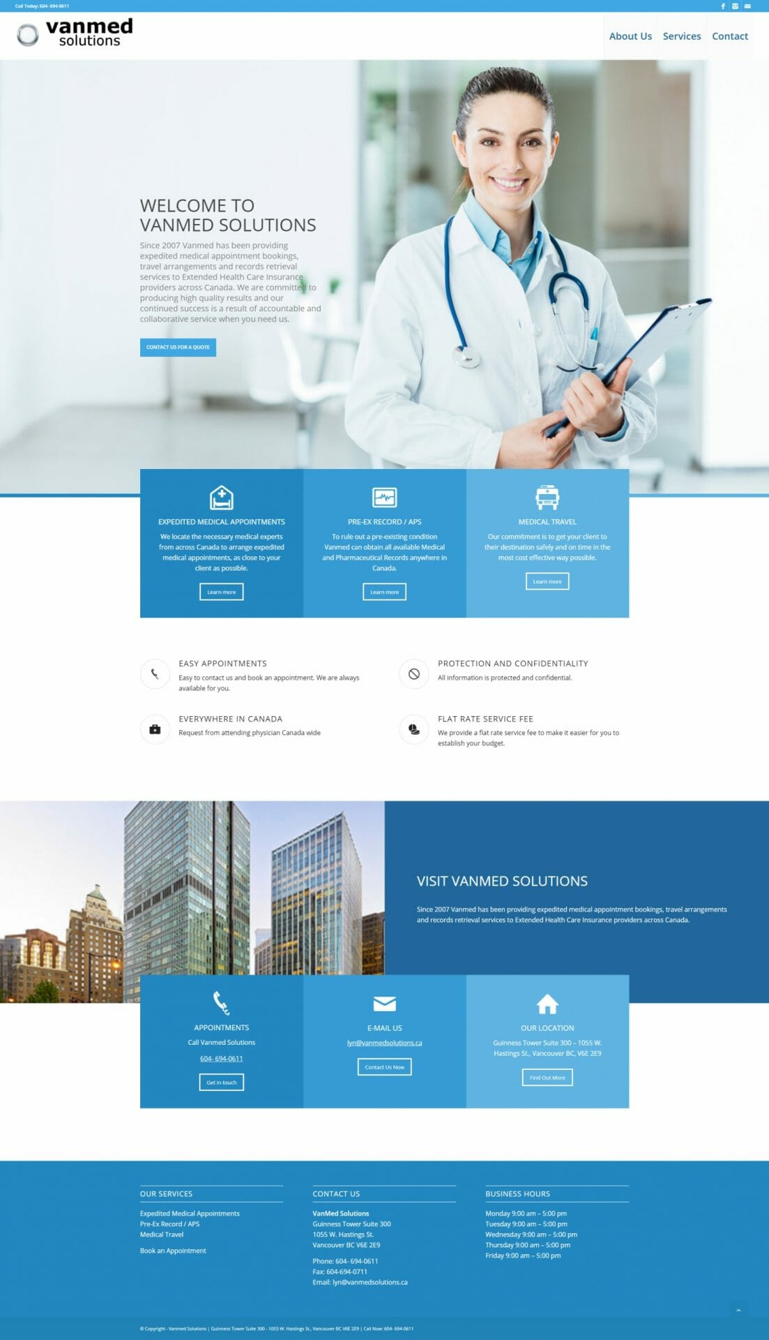 Vanmed Solutions HOME web page layout