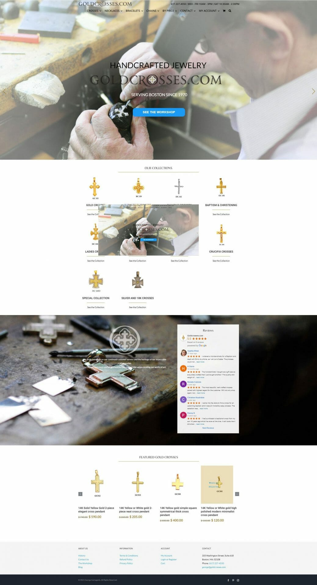 Screenshot of Home web page for Gold Crosses business