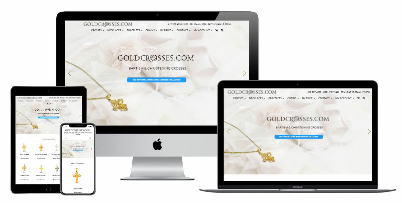 Goldcrosses.com website displayed on multiple electronic devices