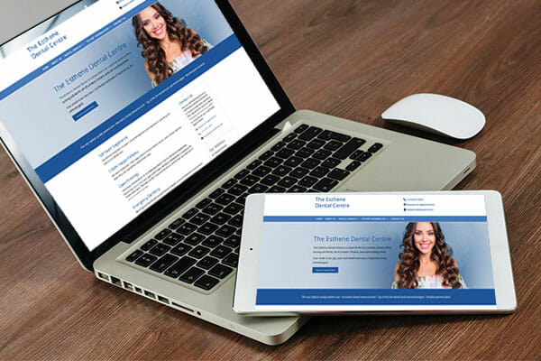 Esthene dental centre website on laptop and tablet