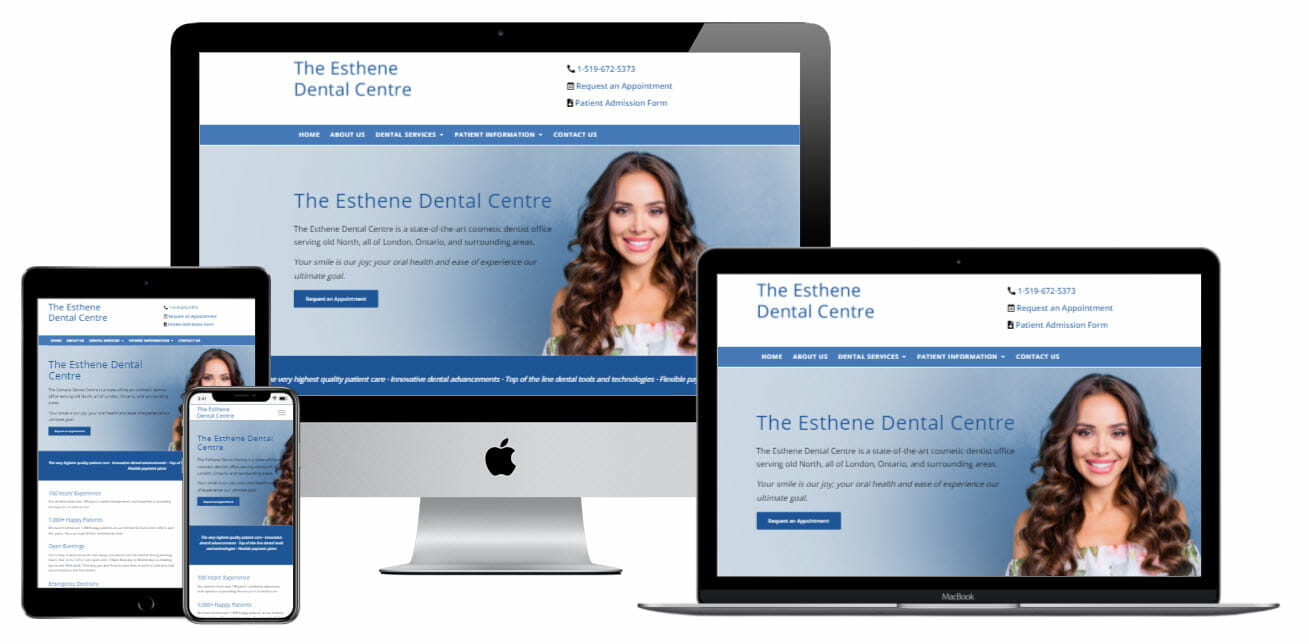 esthene dental centre website on computer laptop tablet screens