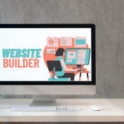 website builder cartoon graphic