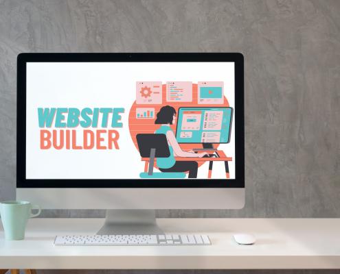website builder cartoon graphic