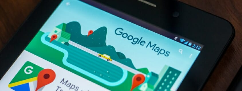 google maps displayed on a cell phone