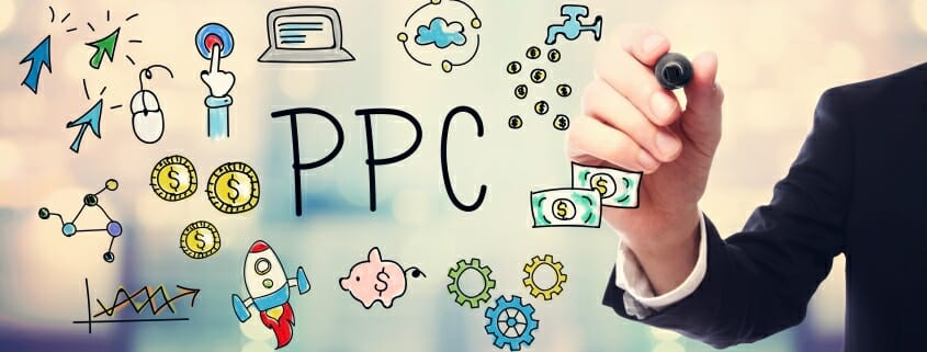 Cartoon hand drawing of pay per click (PPC) graphic